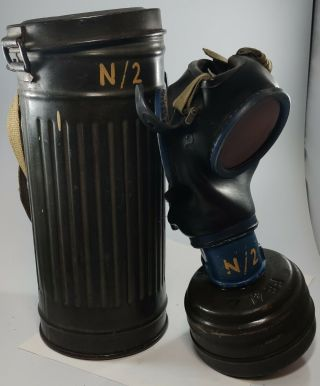 Ww2 German Army Gas Mask &canister Complete Rare Vintage World War 2