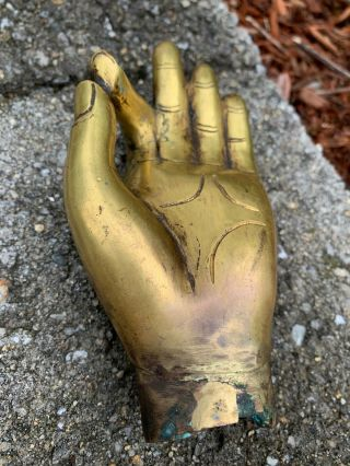 Chinese Or Tibetan Carved Gilt Bronze Antique Buddha Hand