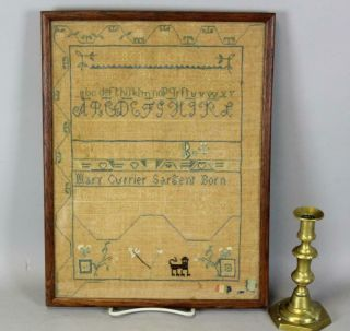 Rare Dated 1818 Essex County,  Ma Needlework Sampler By Mary Currier Sargent