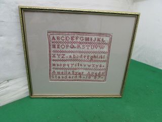 Antique Alphabet Needlework Sampler By Amelia Syer,  Aged 11,  1887