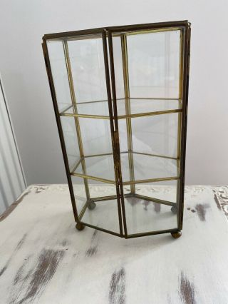 Antique Vintage Brass And Glass Miniature Display Cabinet For Jewellery & Curios