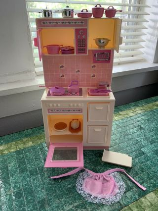 Vintage Mattel 1987 Barbie Sweet Roses Cooking Center W/ Accessories 4777