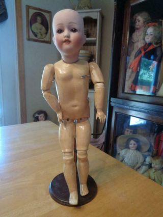 """Antique Bisque Head German Doll Marked Nippon Replaced Seeley Body 15 """""""
