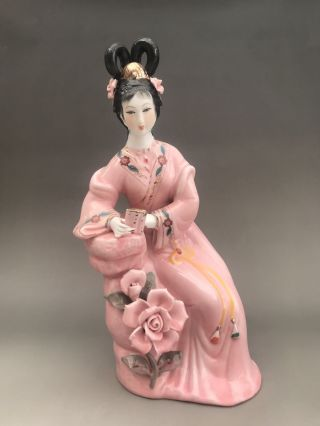 Chinese Hand Make Enamel Color Porcelain Play The Flute Beauty Girl Statue N001