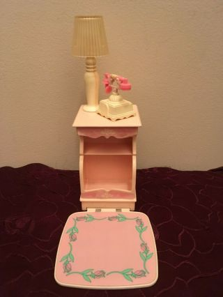 Rare Vintage Barbie Sweet Roses Magical Mansion Nightstand Lamp And Phone