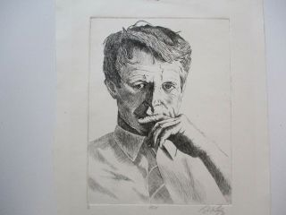 Vintage Etching Portrait Rfk Robert F Kennedy Signed Limited Edition Rare Only 6