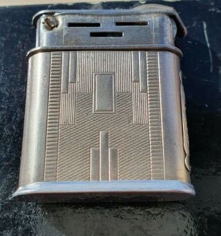 Rare & Unique Solid Silver Sleeve French Petrol Flint Cigarette Lighter