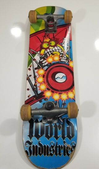 "Rare Vintage World Industries Red Baron Flameboy Deck 7.  75"" Skateboard Complete"