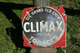 Rare Antique Vintage Climax Plug Tobacco Porcelain Sign Old Cigar Store Display