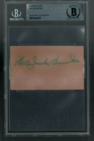 Walter Jumbo Brown (d.  1966) Signed Business Card Very Rare 1933 Goudey Yankees