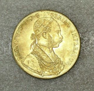 Imperial Austro - Hungarian Empire 4 Ducat 1878 Rare.  Duplicate Not Gold