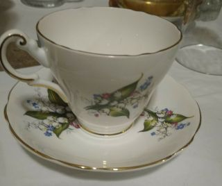 Tea Cup And Saucer Royal Dover Lily Of The Valley Bone China Made In England