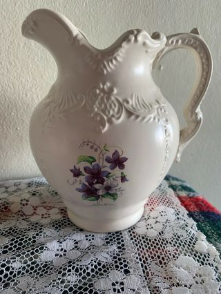 "Vintage Victorian Ayners Decorative Ceramic Blue/white Flowers Pitcher 7 "" Tall"