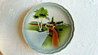 Antique German Cabinet Plate Hand Painted Naive Design Landscape Houses 9.  25 ""