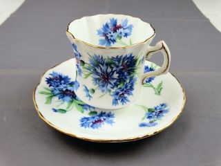 Hammersley English Fine Bone China Embossed Cup And Saucer Blue Flowers
