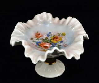 "Vintage Ruffled Hand - Painted Compote Signed "" Donahue """