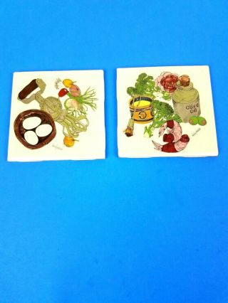 Wendy Wheeler Ceramic Art Decorated Tile Tiles Made In Usa Set Of Two (2)