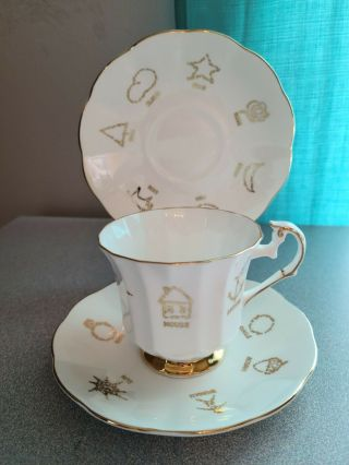 "Vintage Red Rose Tea "" Cup Of Fortune "" Bone China Cup And Saucers"