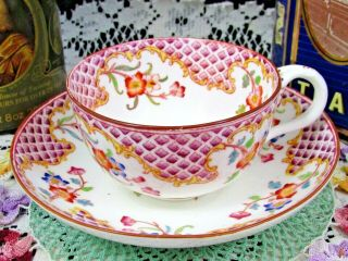 Brown Westhead Moore (cauldon) Waffle Pattern Floral Tea Cup And Saucer