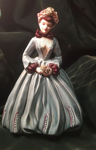 "Florence Ceramics "" Sue Ellen "" Gone With The Wind Figurine/teal & Burgundy"
