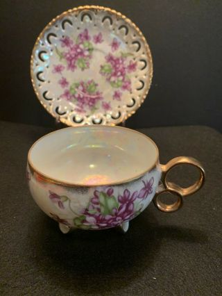 Royal Sealy Lusterware Teacup & Saucer Violet Flower Iridescent Gold Reticulated