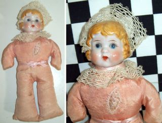 "9 "" Antique Pin Cushion Doll With Ceramic Porcelain Shoulderhead From Japan"