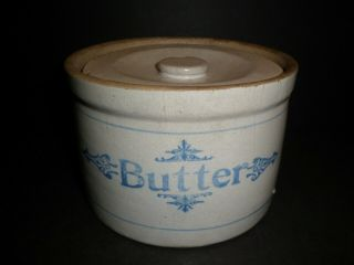 Antique Stoneware Butter Crock With Lid,  Blue Markings,