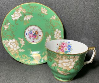 Crown Staffordshire Tea Cup & Saucer Green Floral Extensive Gold