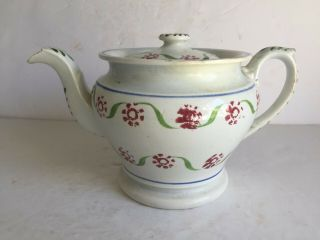 Antique English Staffordshire Spatterware Spongeware Teapot Red Blue Green