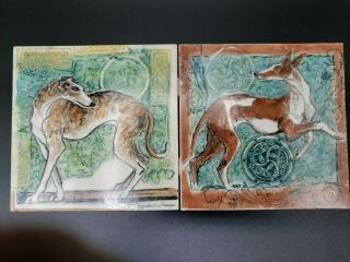 Hand Painted Ceramic Tile Wippet Grayhound Dog Artist S Fegan Set Of 2 Porcelain