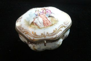 Antique French Casket Trinket Box Hand Painted Porcelain Marked