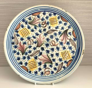 Lovely Antique 19th Century Spanish Faience Multi Coloured Tin Glazed Plate