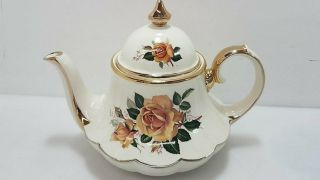 English Porcelain Teapot Gold W/ Rose Design 6.  5 ""