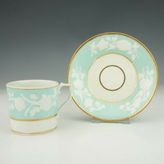 Antique Royal Crown Derby Porcelain - Turquoise Glazed Cup & Saucer