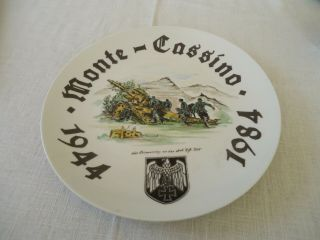 "Authentic Wwii Era "" 1944 - 1984 German,  Monte Cassino,  Italy,  Reunion Plate "" L@@k"