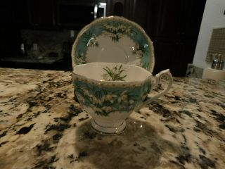 Vintage Queen Anne English Bone China Cup & Saucer Set Marilyn Flower