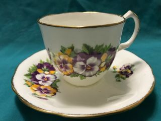 Jason Bone China Tea Cup And Saucer Purple And Yellow Pansies.