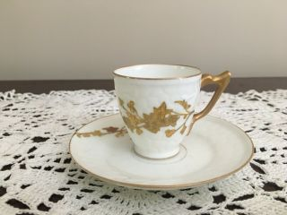 Antique Leonard Limoges Hand Painted Gold Leaf Demitasse Cup & Saucer