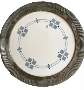 Signed,  Wmf,  German,  1876,  Art Nouveau Ceramic Plate,  Set In Silver Metal