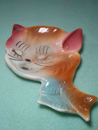 Antique Cat Kitty Ceramic Spoon Rest Ash Tray Colorful Mid Century 6 1/2 ""