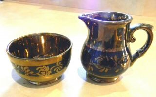 Antique Copper Lusterware Creamer & Sugar W/blue Band Made In England Mark