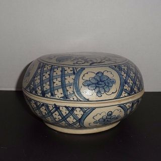 Antique Chinese Blue Floral And Grape Ceramic Box Handmade Signed 8 ""