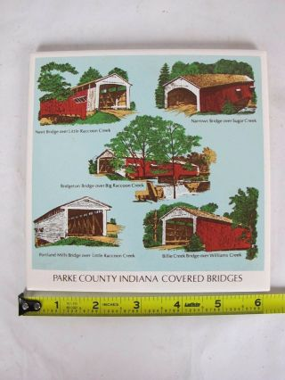 Decorative Parke County Indiana Covered Bridges Art Tile Ceramic Pottery Usa