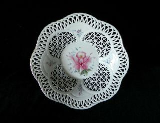 Sumi Porcelain Romania Reticulated Lattice Bowl Hand Painted Flowers