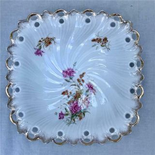 "Antique Altwasser Porcelain 10 "" Floral Square Serving Bowl Germany"