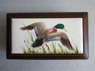 Antique Leather Wrapped Wood Box W/hand Painted Duck Ceramic Tile Signed J Boehm