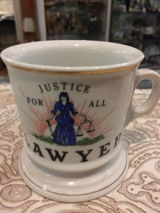 Vintage Antique Ceramic Occupational Shaving Coffee T Mug Lawyer Justice For All
