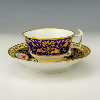 Antique Crown Derby Porcelain Rose & Gilt Decorated Cup & Saucer