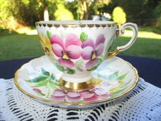 Cup Saucer Tuscan Hand Painted Purple Pink Yellow Violets Lovely Artistry
