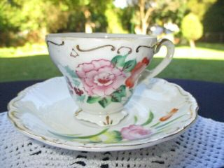Cup Saucer Demitasse Espresso Occupied Japan Pink & Pumpkin Orange Roses